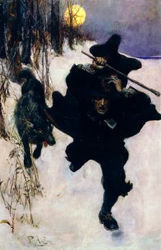 Howard Pyle – Once it Chased Dr. Wilkerson Into the Very Town Itself - 'The Salem Wolf'
