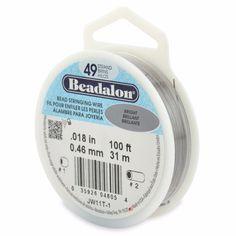 "100ft Bright (.018"") - 49 Strand Bead Stringing Wire by Beadalon"