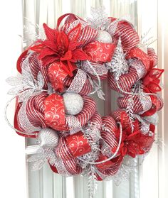Deco Mesh Wreath Red Silver Metallic, Glamor Rope, ornaments, lots of glam