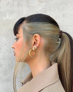 Hidden Hair Color, Two Color Hair, Hair Color Streaks, Hair Dye Colors, Hair Highlights, Hair Color Underneath, Blonde Underneath, Dye My Hair, Underdye Hair