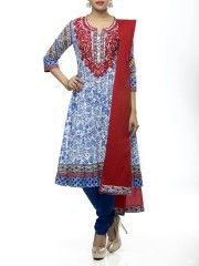 Indigo Cotton Kalidar  Salwar Set