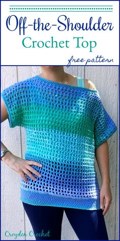 Crochet Shirt Free Pattern from Croyden Crochet off shoulder t shirt - Crochet this super easy and breezy crochet top. The pattern features a wide and generous head opening for an off-the-shoulder look. Crochet Summer Tops, Easy Crochet, Crochet Tops, Crochet Sweaters, Crochet Womens Tops, Crochet Vests, Crochet Gratis, Free Crochet, Top Pattern