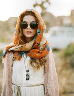 Orange pattern scarf beige cardigan
