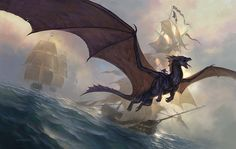 """Todd Lockwood - This cover for the Science Fiction Book Club release of """"His Majesty's Dragon,"""" by Naomi Novik, was loads of fun to paint. How often are you asked to paint a dragon and tall masted ships in the same painting? For me, so far, just this once ..."""