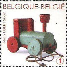 belgian stamps Trains in miniature.'Toy Loco - Belgium 1950'