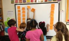 Students at a classroom wall adding sticky notes to a project