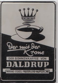 COFFE ADVERTISEMENT ON A GERMAN GLASS POCKET MIRROR