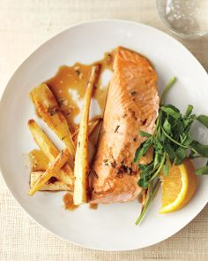 w2 dinner   Roasted Salmon with Parsnips and Ginger