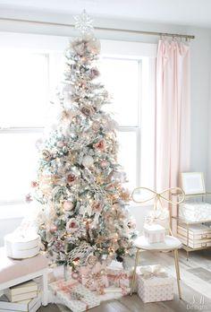 My Blush Pink Flocked Christmas Tree - Summer Adams Rose Gold Christmas Decorations, Elegant Christmas Decor, Flocked Christmas Trees, Shabby Chic Christmas, Christmas Tablescapes, Christmas Candles, Xmas Tree, White Christmas, Christmas Diy