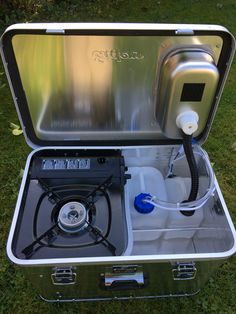 """The new """"Starter camping box is a high-quality all-aluminum box with 1 mm thick aluminum side walls, it is 57 cm wide, 38 cm deep and 36 cm high. The box is the entry into the camping f Auto Camping, Truck Camping, Van Camping, Camping Gear, Aluminium Box, Materiel Camping, T6 California, New Starter, Camper Conversion"""