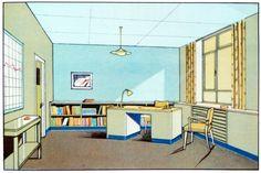 """Render of 30's.The function of colour in factories, schools & hospitals,que explora el uso del color en estos espacios"""", explica Neal, responsable de Present & Correct."""