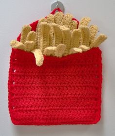 Crochet -Potholder au crochet traduction d'un paquet de frites manique