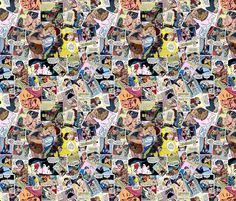 vintage comic book kisses fabric by janbalaya on Spoonflower - custom fabric
