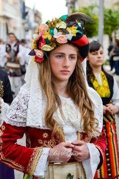 Greek traditional costume of Kerkira Island. Mediterranean People, Folk Costume, Costumes, Folk Dance, Greek, Crown, Traditional, Island, Clothes