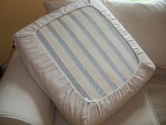 Easy Slipcover Idea - this is a great idea and easier than making fitted slipcovers - Pink & Polka Dot