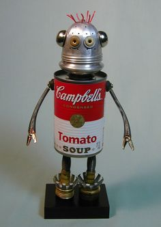 Tomato Soup Bot. Perfect for mom. The top disc ought to be easy to glue on: it's one of the pull-tab types. Just use a can top from another can, i.e., can opener-off the bottom of 2nd can and glue it to the top. Also, note the plumbing washer as shoulder sockets.