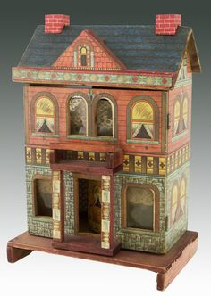 Dollhouse | Bliss Victorian Lithographed Paper on Wood 2-Story. Simple and colorful.  .....Rick Maccione-Dollhouse Builder www.dollhousemansions.com