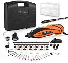 TACKLIFE Rotary Tool Kit Variable Speed with Flex shaft, 80 Accessories and 4 Attachments and Carrying Case, Multi-functional for Around-the-House and Crafting Home Entertainment, Electric Wood Carving Tools, Mini Sierra Circular, Mini Projektor, Sheet Metal Tools, Dremel Tool, Dremel 4000, Smartphone, Diy