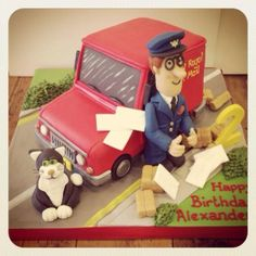 Postman Pat cake, featuring letters, his bright red van and his black and white cat, Jess. 2 Birthday Cake, 4th Birthday, Birthday Parties, Bbc Kids, Kids Tv, Postman Pat Cake, Cbeebies Cake, British Cake, Red Vans