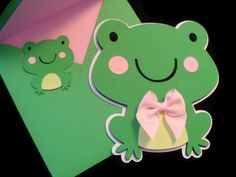 Green Frog Shaped Card Cut Out Cards Kids Cards