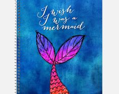 I Wish I Was a Mermaid Notebook, Waterproof Cover, Journal, Mermaid Journal… Mermaid School, Diy Notebook Cover, Diary Decoration, Sketchbook Cover, Cute Notebooks, Journals, Stationary School, Ruled Paper, School Accessories
