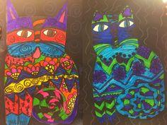 Jamestown Elementary Art Blog Third-grade Laurel Burch pattern cats