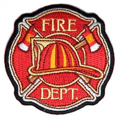 Fire Dept Patch with Hard Hat and Axes Patch