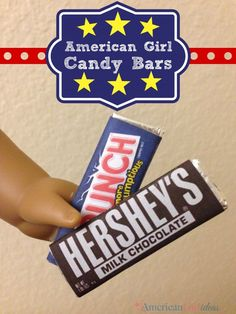 These American Girl Candy Bars are so much fun to make! They are also very inexp… These American Girl Candy Bars are so much fun to make! They are also very inexpensive and fast to make! I am glad everyone loves the design. Casa American Girl, American Girl Food, American Girl Crafts, American Girl Clothes, Ag Doll Crafts, Diy Doll, American Girl Accessories, Doll Accessories, Doll Food