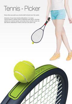 밸크로 소재를 이용함으로서 테니스공을 주울때 허리를 굽히지 않고도 줍게 해주는 제품이다. 라켓을 새로 사지 않아도 밸크로만 붙여서 사용할 수 있어서 경제적으로 효율적인것같다