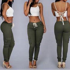 1f682879bef £5.54 GBP - Women Solid Drawstring Fit Pen Pocket High Waist Long Pants  Leggings Trousers  ebay  Fashion