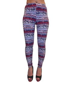 Blue & Red Floral & Paisley Stripe Leggings - Plus
