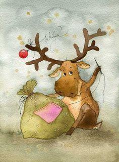Something for the funs of illustrations by Vika Kirdiy :) Christmas Moose, Whimsical Christmas, Christmas Animals, Christmas Pictures, Winter Christmas, Vintage Christmas, Christmas Crafts, Christmas Ornaments, Xmas