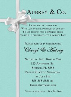 Tiffany Inspired Baby Shower Invitations for luxury invitations example