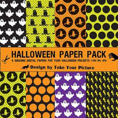 Halloween digital paper pack instant by TakeYourPicture on Etsy