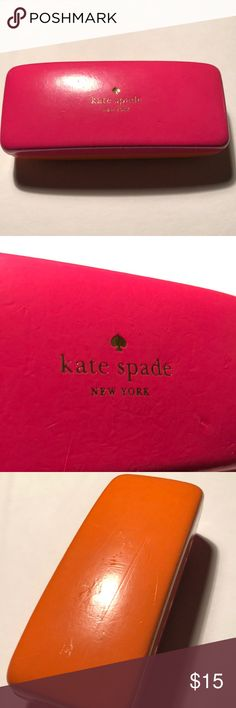 📦⬇️Kate Spade glasses case Signature Kate Spade logo Bright pink & orange Some creasing, but no holes/tears/etc kate spade Accessories Sunglasses