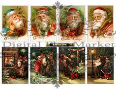 Vintage ATC Printable Christmas Santa Digital Collage Sheet.  Eight images of Santa Claus circa 1909-1911.