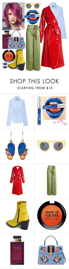 """""""thingy"""" by process-red on Polyvore featuring Larkspur & Hawk, Le Specs, Attico, Valentino, Topshop, MAKE UP FOR EVER, Dolce&Gabbana and Gucci"""