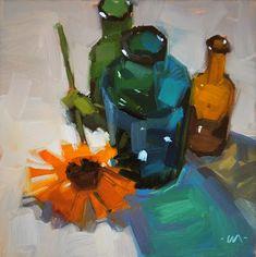 """Bottle Shadows - SOLD"" - Original Fine Art for Sale - © Carol Marine"