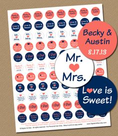 Personalized Wedding Party Favors Printable Candy Stickers Chocolate C Navy Bridal Buffet Diy Labels