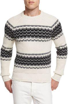 TOM FORD Silk-Blend Striped Fisherman Sweater, Ivory