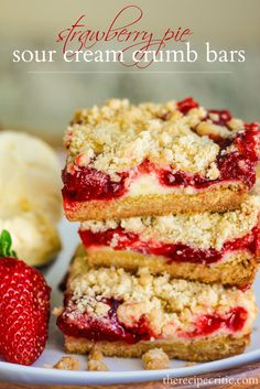 Strawberry Pie Sour Cream Crumb Bars at https://therecipecritic.com  Delicious and creamy strawberry crumb pie bars that taste like biting into strawberry pie!  So Yummy!