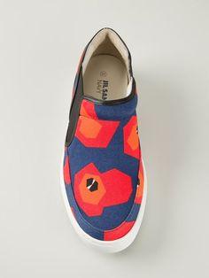 47811605274 Jil Sander Navy Abstract Print Slip-on Sneakers - Idrisi - Farfetch.com