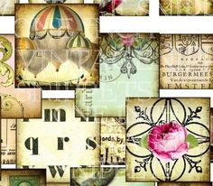 ViNTaGe SNiPPeTs 1 x 1 inch sqaures digital by LandofEnchantment, $4.29