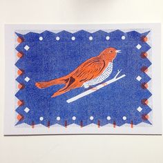 I am very happy with this new postcard, taken from my Cuckoo Clock design #theprintedpeanut #risograph #postcards #design #cuckoo #scandi #colour #illustration #louiselockhart