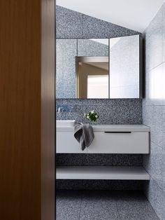Modern terrazzo stone bathroom in sophisticated Port Melbourne house. Bathroom Wall Decor, Bathroom Interior, Small Bathroom, Bathroom Ideas, Stone Bathroom, Bathroom Showers, Bathroom Modern, Bathroom Styling, Bathroom Designs