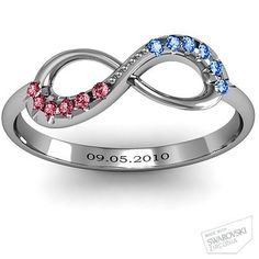 Infinity Accent Ring - Mine and his birthstones and anniversary $109