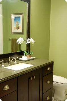 Benjamin Moore - Hillside Green (wall color). Love this color for basement bath!!