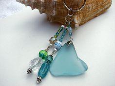 Key Chain Beaded Sea Glass Aquamarine Crystal by BitsOffTheBeach, $18.00