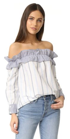 ENGLISH FACTORY Stripe Long Sleeve Off Shoulder Top | SHOPBOP SAVE UP TO 25% Use Code: EVENT17