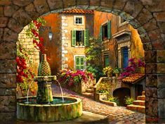 Village fountain - calm, nice, nature, beautiful, serenity, water, fountain, village, peaceful, street, pretty, town, quiet, summer, lovely, stones, flowers, art, painting